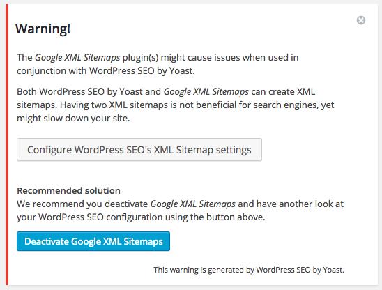 yoast sitemap warning - Google XML Sitemaps vs Yoast SEO, ¿Que Sitemap es mejor?