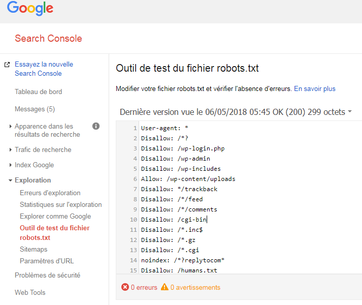 Outil robots.txt search console 713x600 - El archivo robots.txt y el SEO, una historia de amor.