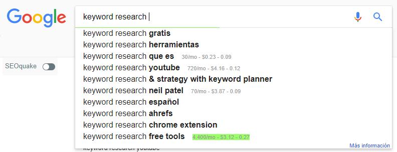google keyword suggest - La planificación de un buen Keyword Research